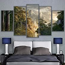 GUDOJK Canvas Pictures Wall Art He Liveing Decor 5 Pieces Castle In The Mountains Posters HD Prints Lord Of The Rings Paintings 30x40 30x6030x80cm