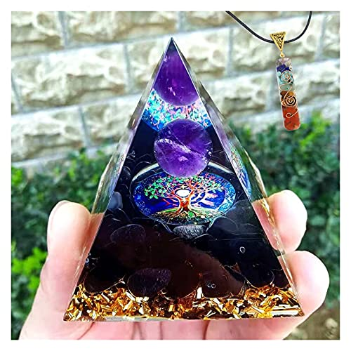 HCHL Pirámide de orgonita, Bola de Amatista Hecha a Mano Obsidian Piedra aplastada Orgon Pyramid 60mm El Juego de pirámide de Cristal con generador de e (Color : B, tamaño : 60X60mm)