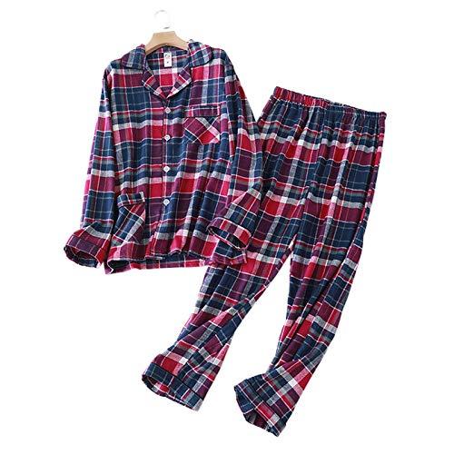 LEYUANA Ropa de Dormir para Hombre a Cuadros de Moda, Conjuntos de Pijamas de algodón, Ropa de Dormir Informal para Hombre, Pijamas Simples para Hombre, Ropa de hogar para Hombre XL púrpura