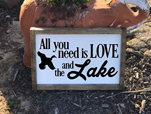 Ced454sy alles wat je nodig hebt is liefde en het meer alles wat je nodig hebt is liefde en het Lake Sign Lake House Decor Lake House teken Lake House Wood teken teken