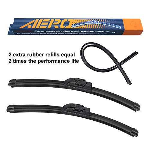 AERO Voyager 26 + 16 OEM Quality Premium All-Season Windshield Wiper Blades with Extra Rubber Refill + 1 Year Warranty (Set of 2)