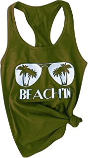 FRPE Womens Sleeveless Beach Summer Sport Printing Tank Top Cami Blouse Shirt
