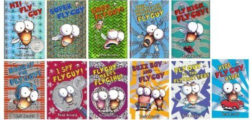 Fly Guy Set of 11 Paperback Books By Tedd Arnold Includes Hi Fly Guy, Shoo Fly Guy, Buzz Boy, Super Fly Guy, Fly Guy Vs the Flyswatter, Ride Fly Guy, I Spy, Fly Boy Meets Fly Girl, There Was an Old Lady Who Swallowed a Fly Guy, Hooray, Fly High,