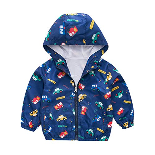 WOCACHI Boys Girls Windbreaker, Toddler Kids Girls Boys Long Sleeve Car&Star Print Windproof Coat Hooded Outwear Toddler 30% 70% Discount Bargains Newest Baby Products for Chill Days