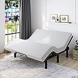 Allewie Adjustable Bed Base Frame / King Size Bed Upholstered Frame Head and Foot Incline / Wireless Remote Control Adjustable / Wood Board Support / (King Adjustable Bed Only)