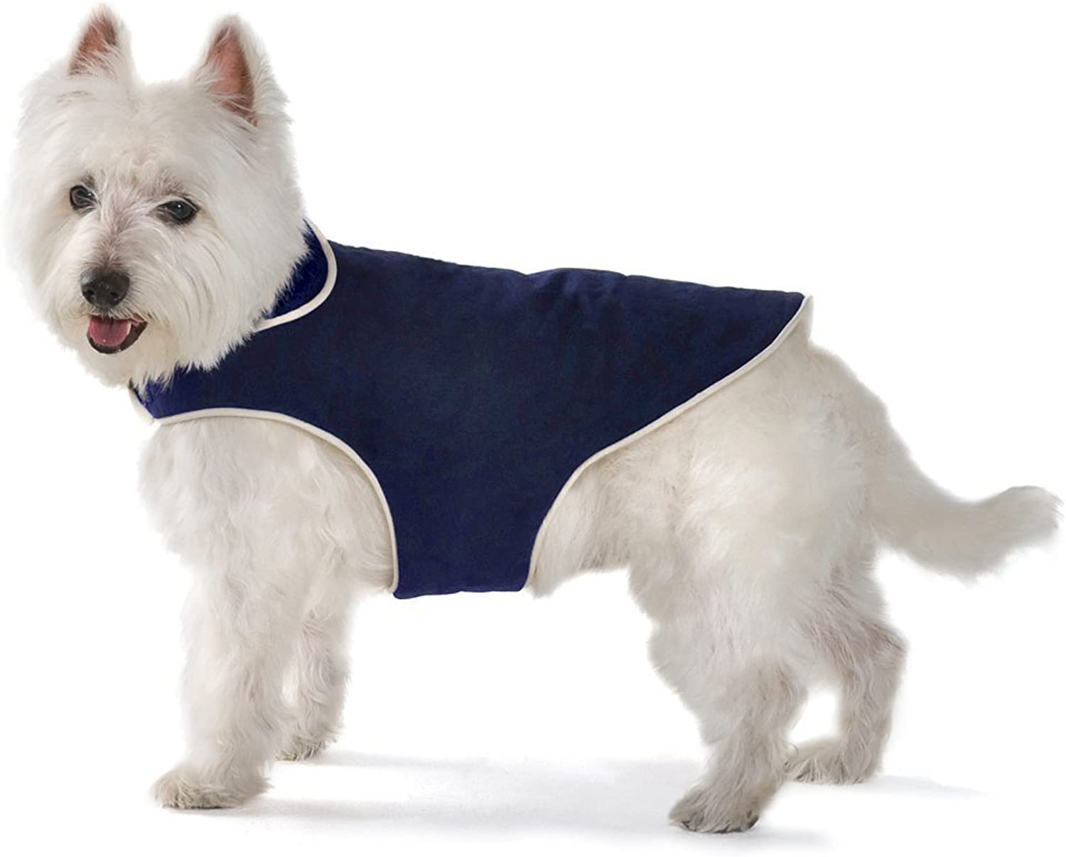 Dog Gone Smart Jacket with Ecru Piping for Dogs, 12Inch, Navy