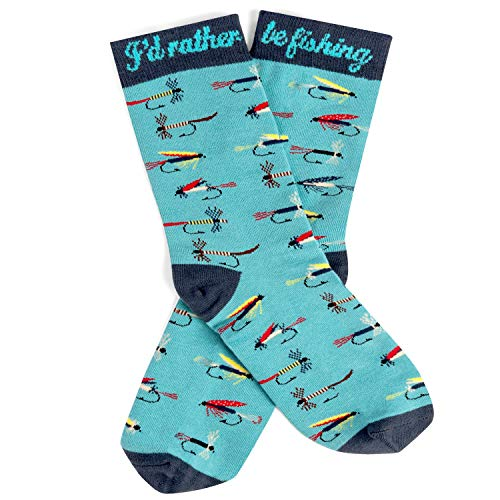 Lavley - I'd Rather Be Fishing - Men's Novelty Socks - Fun Dress Socks For Work (Fly Fishing)