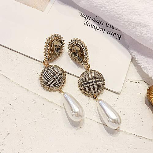 Chwewxi Pendientes de Perlas Feminidad Corea Pendientes Simples Salvajes Pendientes pedrería de fantasía, Plaid de Cristal - Aguja de Plata