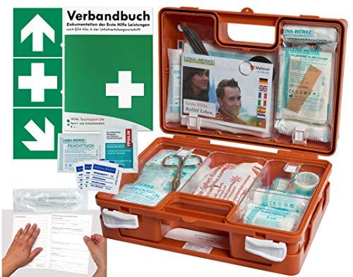 Verbandskoffer/Verbandskasten (K) -Paket 1- Erste Hilfe nach DIN 13157 für Betriebe -DSGVO- INKL. PERFORIERTEM VERBANDBUCH + Folienaufkleber