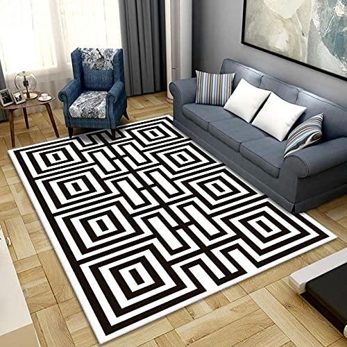 CQIIKJ Alfombra Impresa Rayas geométricas Blancas Negras Alfombra Antideslizante Lavables 160 x 230 cm Alfombras Dormitorio salón alfombras alfombras de habitación.