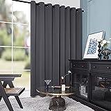 Deconovo Gery Wide Width Curtains for Patio Door - Room Darkening Curtains, Nosie Reducing Drapes...