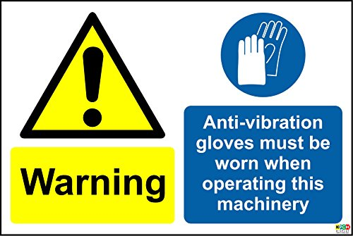 Alerta. anti-vibración guantes debe llevarse al utilizar esta máquina señal–vinilo autoadhesivo 300mm...
