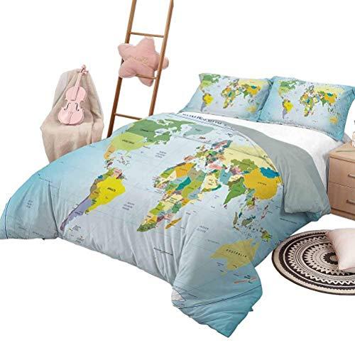 Mapa del Mundo Funda nórdica Mapa Mundial con países y Ciudades Capitales Tierra con océanos Lagos Arte gráfico Chic Home Funda nórdica Juego Multicolor con 2 Fundas de Almohada, tamaño Twin XL