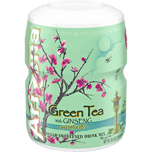 Arizona Green Tea with Ginseng & Honey Sugar Sweetened Powdered Drink Mix, 20.4 oz. Canister (Pack of 12)