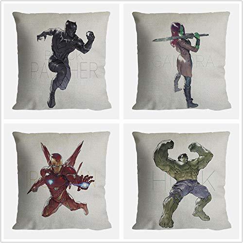 Juego de Funda de Almohada de 4 Lindo superhéroe Iron Spider Man Funda de cojín de sofá de Pantera Negra Funda de Almohada de algodón de Lino de Dibujos Animados Decorativos 45X45 cm