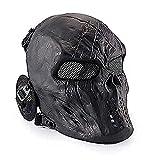 Wwman Máscara Táctica CS Airsoft de Cara Completa con Diseño de Calavera de, para Halloween, Cosplay, con Protección para Los Oídos, Negro