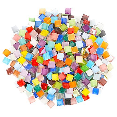 Piezas De Vidrio De Mosaico Cuadrado Azulejos De Mosaico De Vidrio Mosaico Colorido De Cristal Para La Decoración Del Hogar Fabricación De Mosaicos Cuadrados Mezcla De Colores Aprox. 300 Pcs (1x1 Cm)