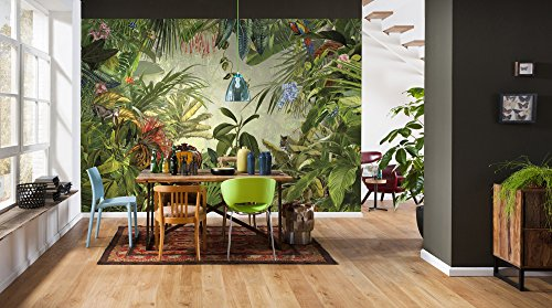Komar XXL4-031 Vlies Fototapete INTO The WILD Tapete, Wand Dekoration, Regenwald, Dschungel, Tropic-XXL4-031, grün/bunt, 368 x 248 cm (Breite x Höhe), 4 Teile, 4 Stück