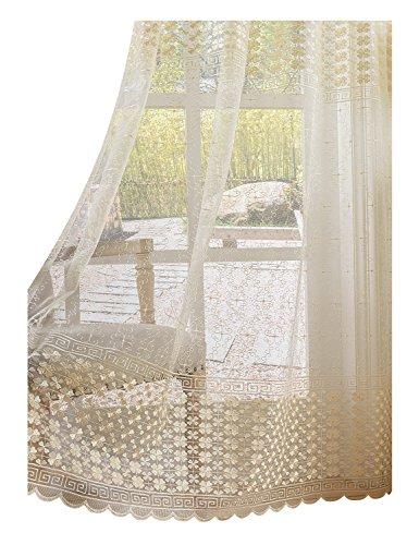 BW0057 Vorhang mit Kleeblatt, Bestickt, für Schlafzimmer, Wohnzimmer (1 Panel, B 50 x L 160 cm, weiß) 1300463C3BYAWH15063-8516