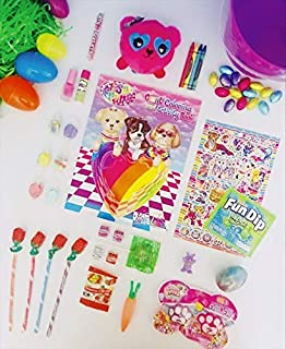 The Pink Cottontail Animal Easter Basket, Coloring Activity Book and Colors, Suprise Pet Pack, Squishy Animal Plush and More!