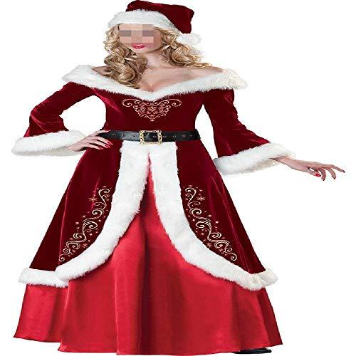 Fiesta de Año Nuevo Cosplay Terciopelo de Manga Larga Túnica Disfraces de Papá Noel para Adultos, Mujeres Navidad Princesa Reina Vestido Largo