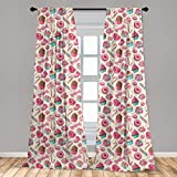 Ambesonne Candy Cane Curtains, Yummy Lollipop Candy Macaroon Cupcake and Donut on Polka Dots Pattern, Window Treatments 2 Panel Set for Living Room Bedroom Decor, 56' x 84', Pink Cream