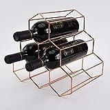 Fantasee Casier à vin en métal   Support pour 6 bouteilles de vin sur pied   Armoire à vin   Poids léger pour les amateurs de vin, or rose – Pour bouteilles de 750 ml ou diamètre inférieur à 8,1 cm