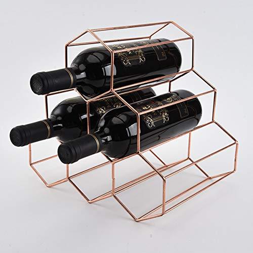 Estantes de vino de metal Fantasee | 6 botellas de botella de vino de pie | Armario de mesa | Peso ligero para los amantes del vino, oro rosa – para botellas de 750 ml o diámetro inferior a 8 cm
