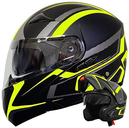 YNWJ Klapphelm Integralhelm Helm Motorradhelm Schwarz Neon Gelb Grün Matt Mit Sonnenblende,XL(56-57cm)