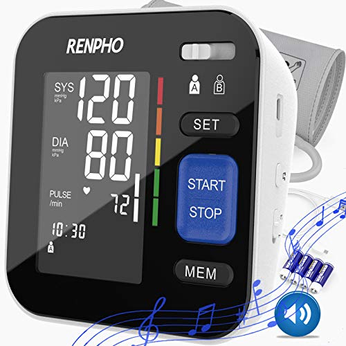 Renpho Blood Pressure Monitor, Upper Arm BP Cuffs for Home Use with Relaxing Music,Speaker, Accurate Automatic BP Machine, Large Cuff, Digital Large Display, 2 Users, 240 Recording, Fathers Day Gifts