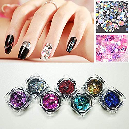 Happlee 12 Colors Shiny Round Ultrathin Sequins, Nail Glitter Paillette Decoration, Circular Fluorescent Sequins Perfect for Art Projects School or Home, Scrapbooking, DIY Crafts &Nail Art(φ=3mm)