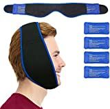 Face Ice Pack - Easy to Use as Wisdom Teeth Ice Pack, TMJ Relief Products, Jaw Pain – Hot & Cold Therapy for Chin, Headaches, Post Surgery Treatment - Adjustable Face Wrap Includes 4 Gel Packs