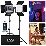 GVM RGB Led Video Light, 2PCS Video Lighting Kit with APP Control, 40W Photography Lighting Led Panel Light with 8 Kinds of The Scene Lights for Studio YouTube, 3200K-5600K, CRI 97+