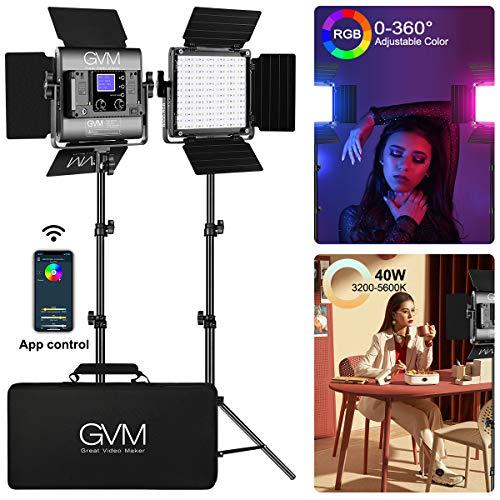 GVM RGB Led Video Light, 2PCS Video Lighting Kit with APP Control, 40W Photography Lighting Led Panel Light with 8 Kinds of The Scene Lights for Studio YouTube, 3200K-5600K, CRI 97+