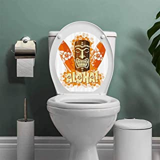 ThinkingPower Tiki Bar Decor Bathroom Wall Stickers Toilet Home Decoration Hibiscus Flora Burst Orange Surfboards Aloha Tropical Summer Bathroom Decal Orange Brown Light Yellow W14XL16 INCH
