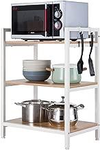 Unidad de estante Estantería metalicas almacenaje Estantería de cubos Estante de Cocina Multi-función Horno microondas estante para platos estante de acero para madera-White-3