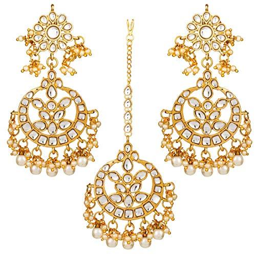 Aheli Indian Bollywood - Juego de pendientes de perlas, diseño tradicional de mang tikka, joyería étnica para mujeres y niñas