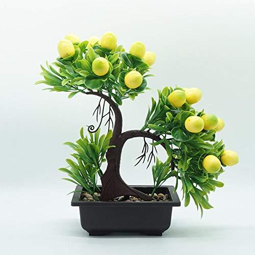 Ymwenj Flor Artificial Simulación Planta De Fruta De Pino Bonsai Plástico Flor Florero Falso Maceta Conjunto @ Limón