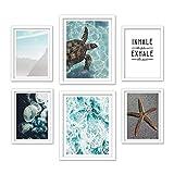 Feeby 6er Set Poster mit weißem Rahmen Unterwasserwelt