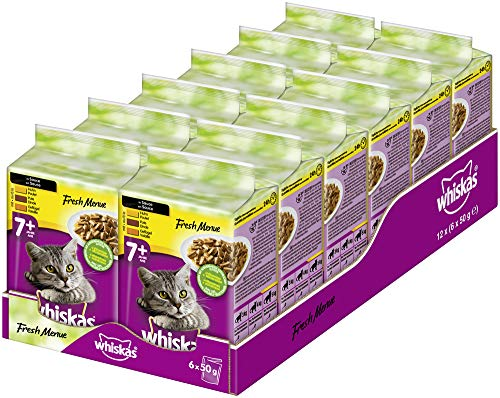 Whiskas Fresh Menue 7 + Katzenfutter – Geflügel-Auswahl in Sauce – Hochwertiges Nassfutter für Katzen ab 7 Jahren und älter – 72 Portionsbeutel à 50g