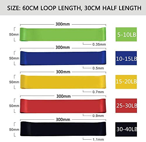 Slim Panda Mini Resistance Loop Bands, Skin & Eco Friendly Fitness Booty Leg Exercise Circle Hip Bands with 5 Different Resistance Levels - Free Carrying Bag- Ideal for Home, Gym, Yoga