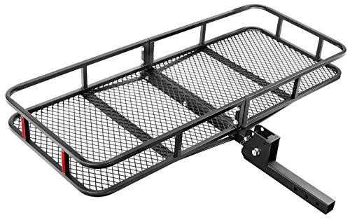 "Leader Accessories Hitch Mount Cargo Basket Folding Cargo Carrier Luggage Basket 60"" L x 22"" W x 6"" H with 500 LB Capacity Fits 2"" Receiver"