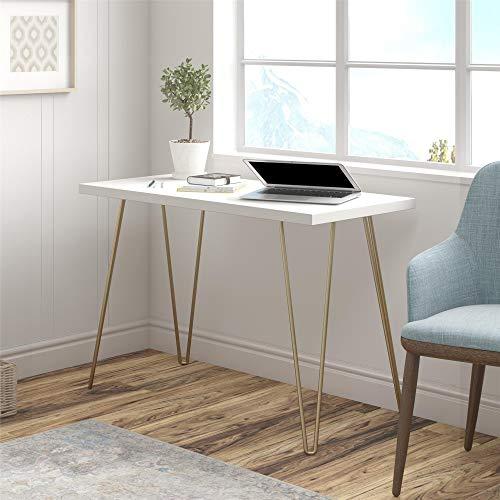 Ameriwood Home Owen Retro Computer, White/Gold Legs Desk