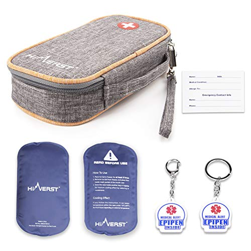 Hiverst Insulated Epipen Carrying Case Insulin Diabetic Travel Supplies with 2 Medical Alert Epipen Inside Key Tag & 2 Ice Pack Allergy Kids Cooler Medical Travel Organizer