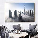 WKHRD Skyline of Dubai Downtown Canvas Art Prints Dubai Cityscape Posters e Impresiones Lienzos para decoración de Dormitorio -70x100cm (Sin Marco)