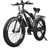 GUNAI Electric Bike1000W 48V off-Road Fat 26'4.0 Tire E-Bike Mountain Bike elettrica con Sedile Posteriore (Nero)