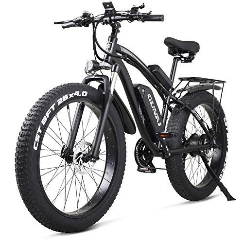 GUNAI Bicicleta eléctrica 1000W 48V Off-Road Fat 26 4.0 Neumático Bicicleta eléctrica de montaña con Asiento Trasero (Negro)