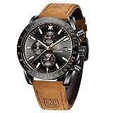 BENYAR Reloj cronógrafo para Hombre Movimiento de Cuarzo Fashion Business Sports Watch 30M Impermeable Elegante Regalo de los Hombres (Negro)