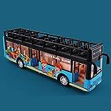 Xolye Cabrio Bus Spielzeug Jungen Kinder Metall Fallresistent Pull-Back Spielzeug Auto Kann die Türklang öffnen und Licht City Bus Spielzeug Modell Doppeldecker Bus Spielzeug Geschenk (Color : Blau)