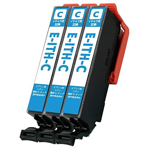 C-JETANK インクカートリッジ ITH-C 「 いちょう 」 エプソン用 新互換インク 最新ICチップ QR WEB説明書付き 残量表示あり [三大保証1年パック対応] インクのMint製 ITH (C/シアン)-3本セット